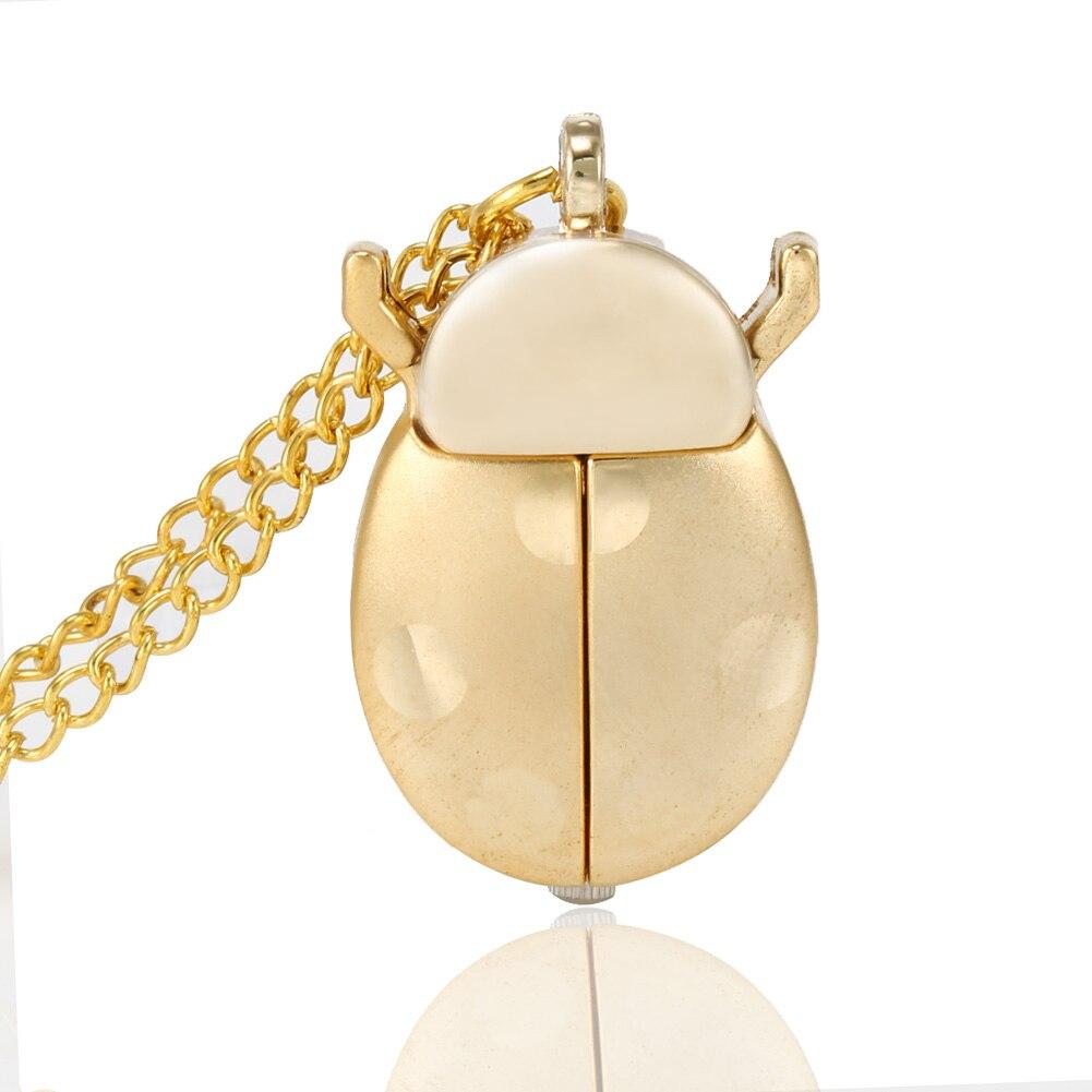 Retro Gold Cute Beetle Quartz Pocket Watch Mechanical Pendant Necklace Chain Clock Gifts TY66