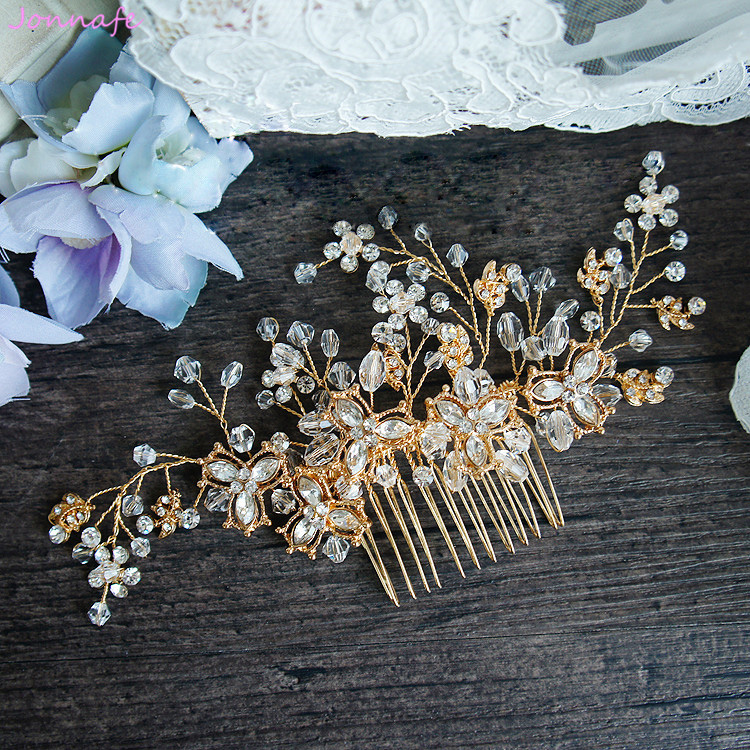 Jonnafe Gold Crystal Bridal Hair Comb Vintage Wedding Hair Jewelry Accessories Floral Headpiece for Women jonnafe handmade red flower wedding prom hair clip jewelry gold leaf bridal hair accessories comb headpiece