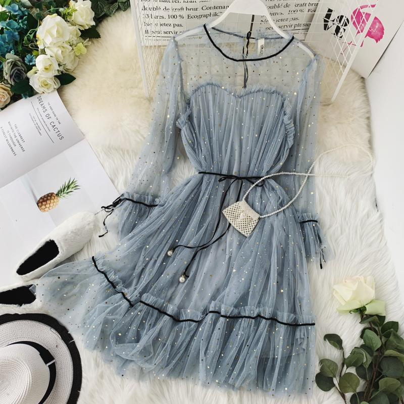 HISUMA spring autumn new women Star sequins gauze flare sleeve lace-up Princess dress female elegant o-neck mesh puff dresses 4