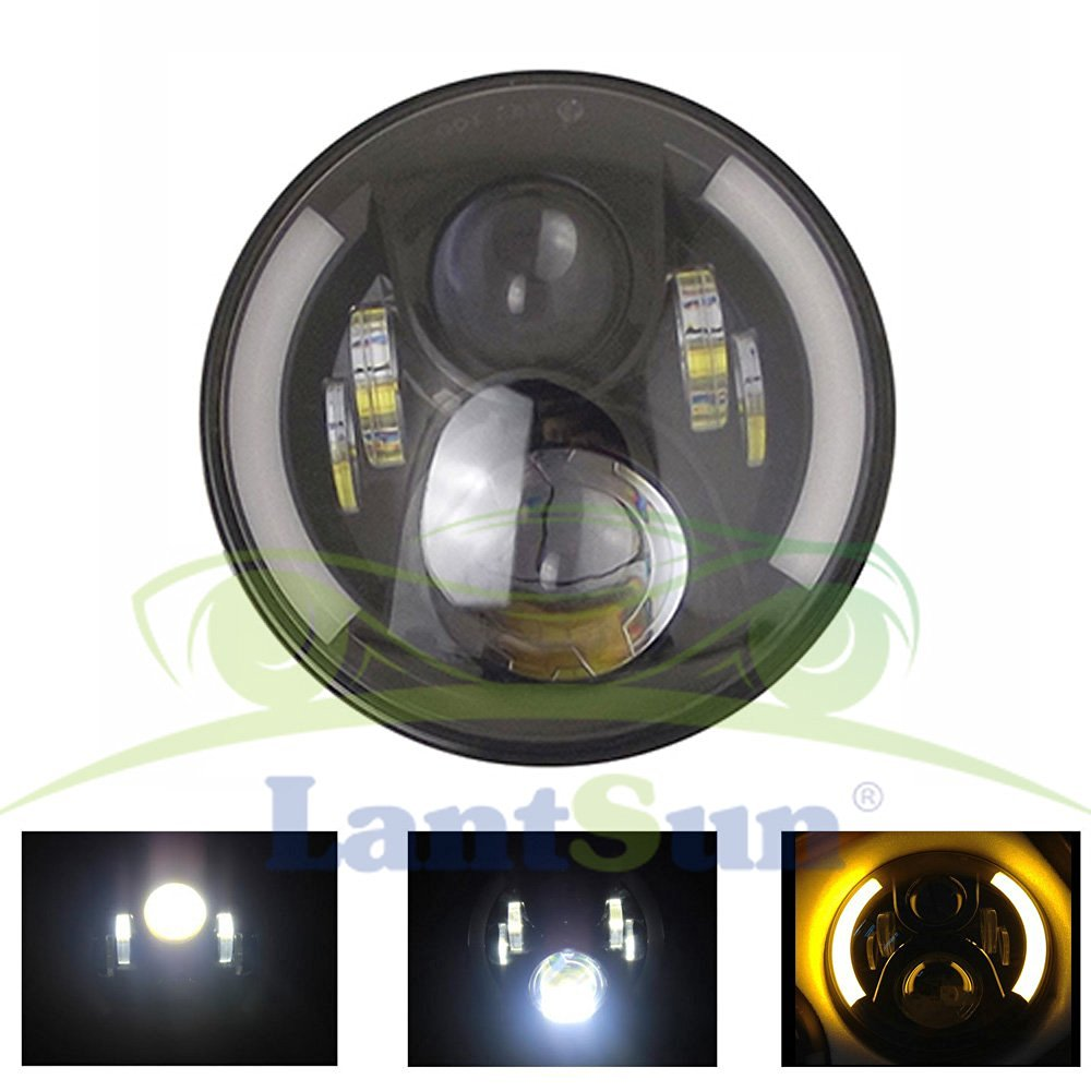 One pair 7 Inch 50w  Round  LED Headlights with Amber DRL Turn Signal Halo for 97-16 Jeep Wrangler Jk Tj pair 7 inch round high low led headlight with amber signal halo ring angle eyes with drl halo for 97 15 jeep wrangler jk tj