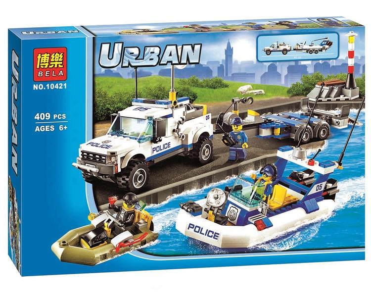 ФОТО 409pcs Police Patrol City Police Set Building Bricks Blocks Toy Gift Lepin City 60045