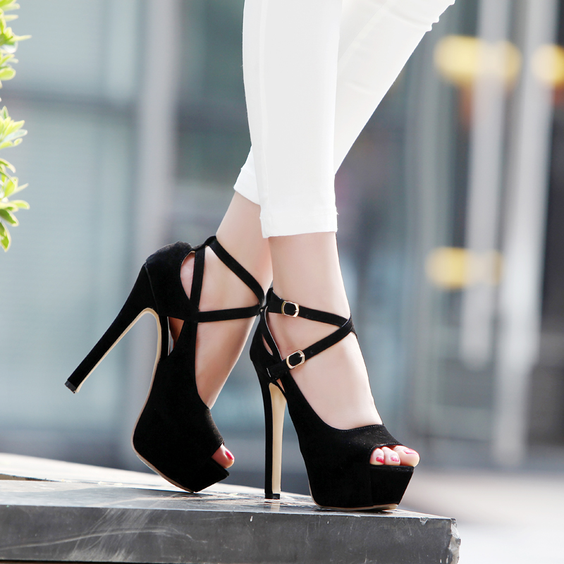 3254c895ac58c LADIES BLACK STRAPPY STILETTO PEEP TOE HIGH HEELS PLATFORM SHOE ANKLE SANDAL-in  Women's Pumps from Shoes on Aliexpress.com | Alibaba Group