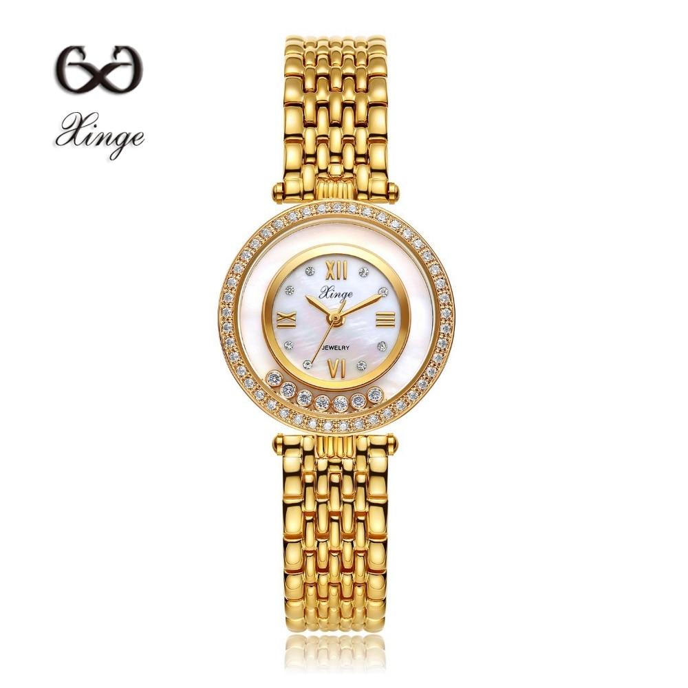 58d454595e2 Xinge Marca Zircon Cobre Ouro Novas Mulheres Moda de Luxo Relógio De Ouro  de Strass Senhoras Relógio de Quartzo Vestido Ocasional Relógios