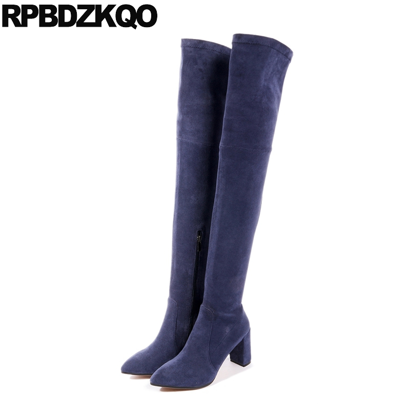 Over The Knee Fall Suede High Heel Chunky Long Stretch Genuine Leather Thigh Navy Blue Shoes Slim Women Boots Quality Pointed suede chunky heel womens thigh high boots