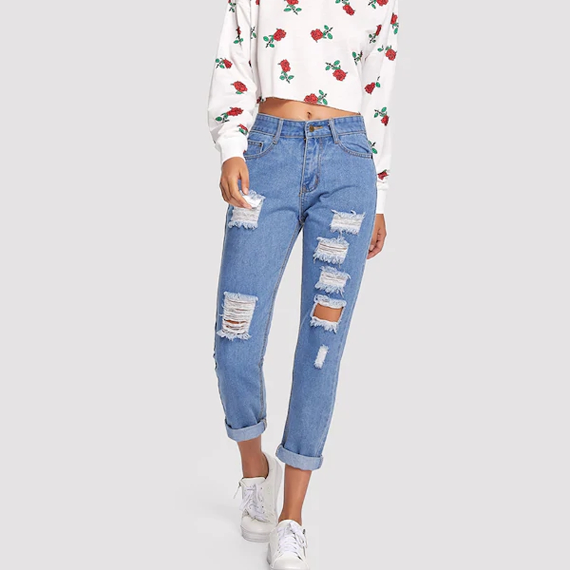 New Style Fashion Straight Sexy 2019 Hole Women Jeans Regular Boyfriend Jeans For Women Jeans Mujer 2019