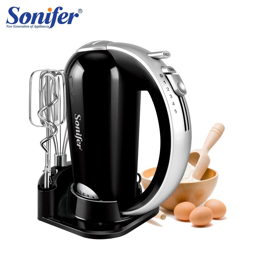 5 Speeds 300W Stainless Steel Food Mixers Dough Mixer 220v High Quality Dough Blender Egg Beater Hand Mixer For Kitchen Sonifer