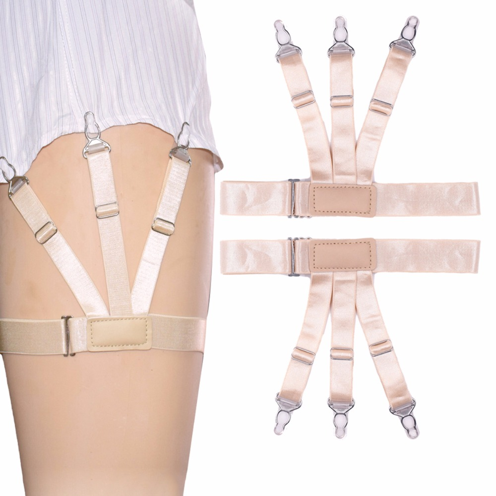 Mens Adjustable Slip Brace Sexy Shirt Holder Men Shirt Stays Garters Elastic Tirantes Crease Resistance Suspenders
