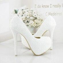 Weiß Perlen Perlen Plattform High Heels Hochzeit Schuhe Frau Brautkleid Schuhe Berühmtheit Abend Party Prom Pumpen EU35-41