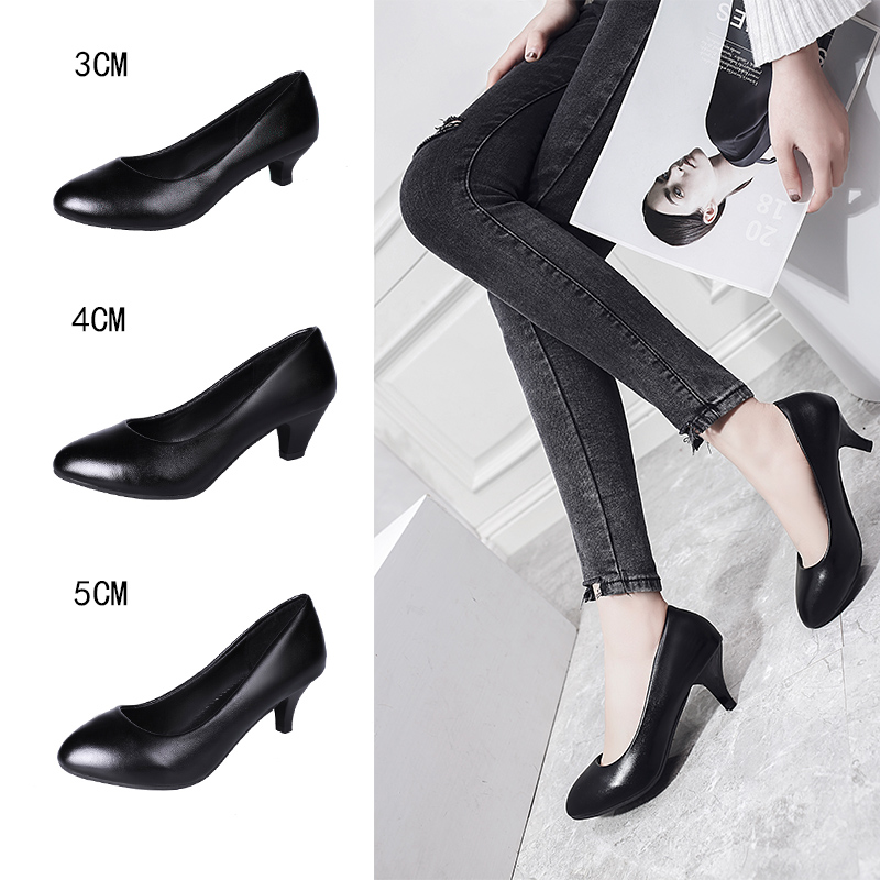 2019 spring new pointed shallow mouth high heels Korean fashion casual low-heeled professional work shoes