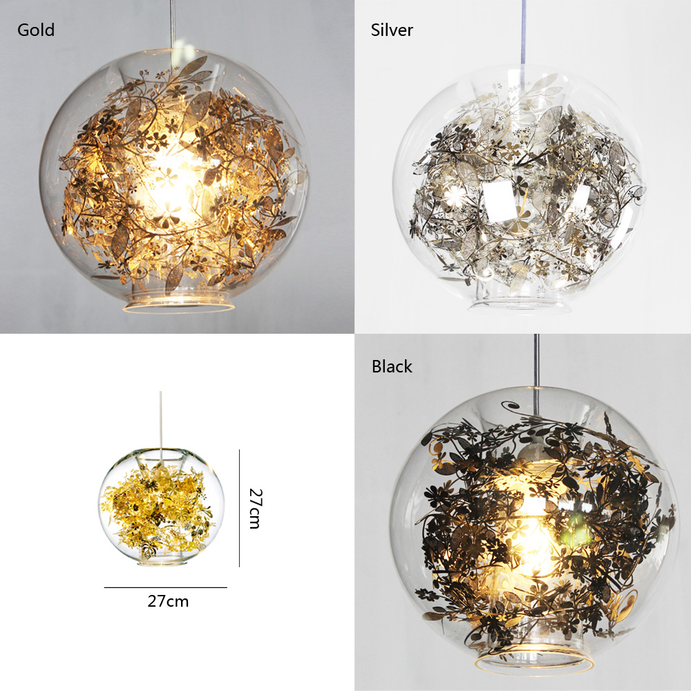 Tangle Globe Pendant Gold Silver Modern Pendant Lamp Wednesday Pendant Light  Dinning Room Lighting Flower In Glass Shade In Pendant Lights From Lights  ...