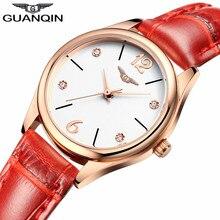 GUANQIN reloj de cuarzo para mujer, reloj de pulsera femenino, de cuero, resistente al agua
