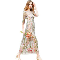 Floral Embroidery Mesh Dress Bandage Elegant Bohemian Beach Dress 2018 Two Piece Set Sundress Vestidos Long Transparent Dress
