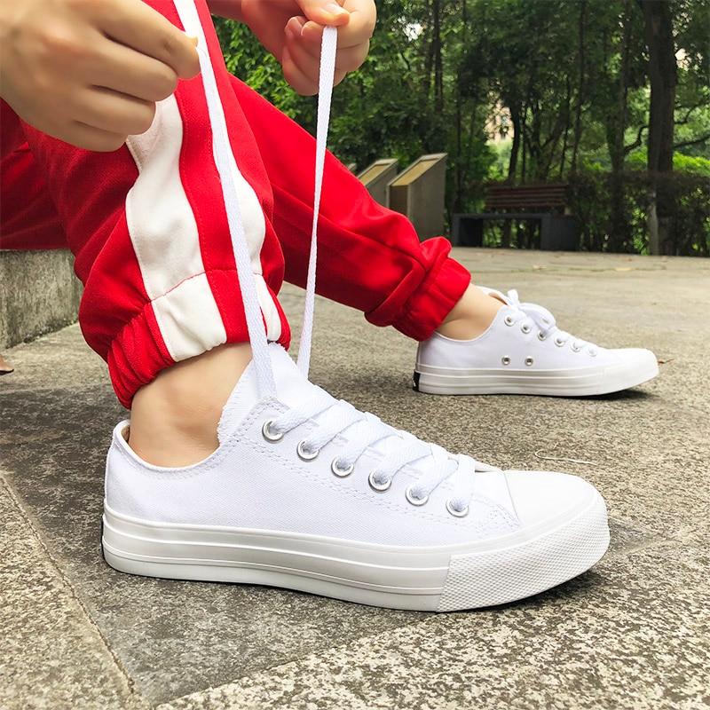 Wen Canvas Shoes Muškarci Tenisice Niska Vrh Solid Bijela Casual - Muške cipele - Foto 2
