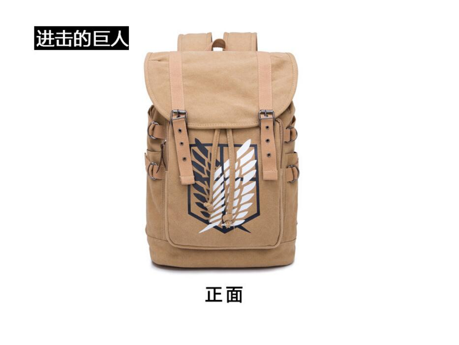 2017 Anime Attack on Titan Cosplay Student campus male and female canvas leisure backpack child birthday gift anime fairy tail cosplay anime shoulder bag male female student travel leisure large capacity backpacker birthday gift