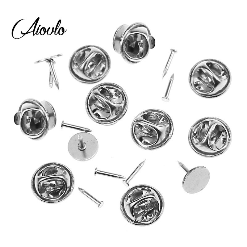 Aiovlo 20sets/lot Stainless Steel DIY Brooch Round Clasps Pin Tie Tacks Blank Pins With Clutch Back For Jewelry Making Supplies