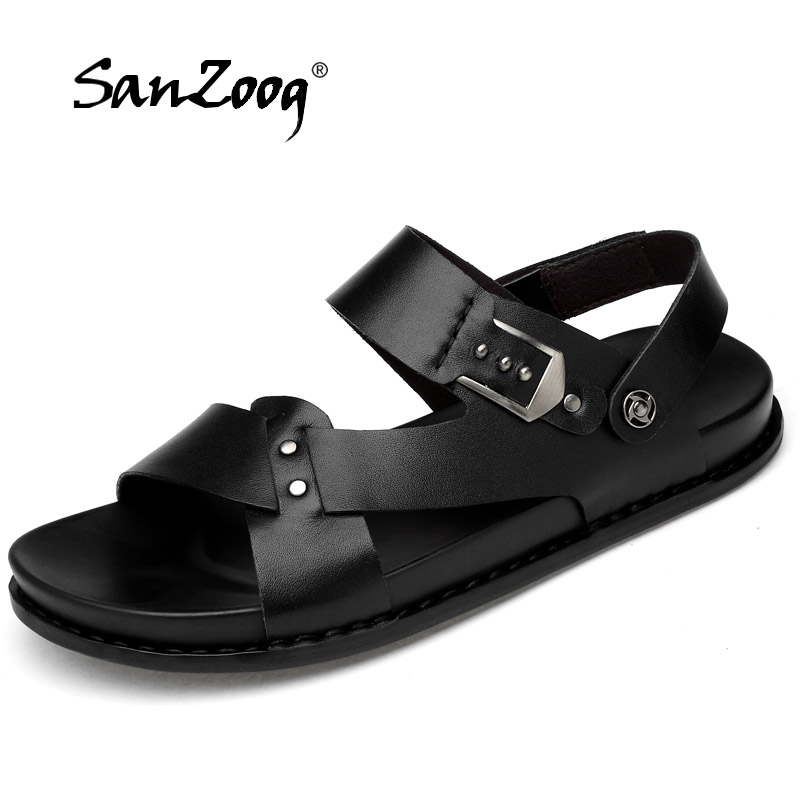 New Genuine Leather Sandals Men Shoes Fretwork Breathable Fisherman Shoes Style Retro Fashion Summer Sandalias Hombre