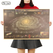 TIE LER Milky Way Nebula Map Nostalgic Vintage Kraft Paper Poster Decoration Painting Wall Stickers 72.5X48.5cm