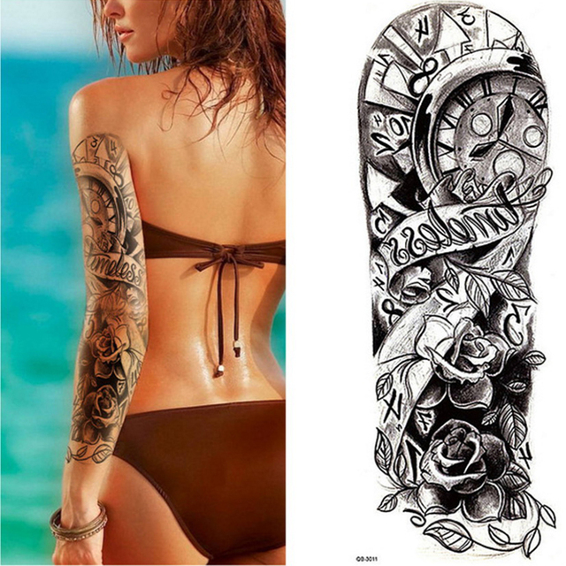 New 4817cm Full Flower Arm Tattoo Sticker Terror Clock Rose Cool