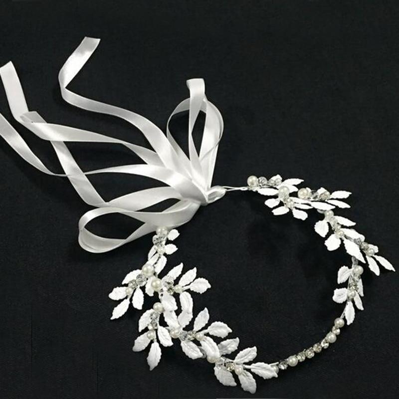 Wedding Bridal Silver Metal Leaf Flower Headbands With Crystal Rhinestone For Women Girls Party Hair Accessories elegant rhinestone flower wedding party brooch for women