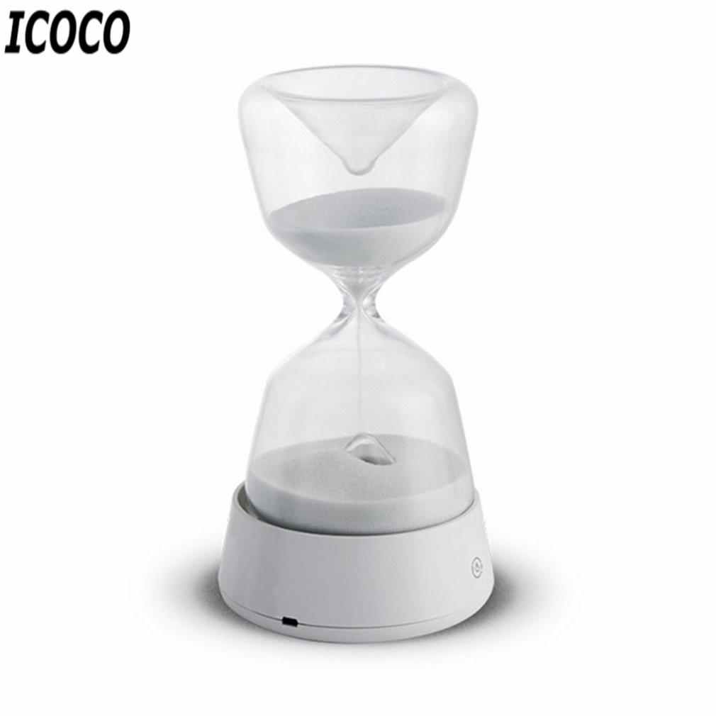 ICOCO Romantic LED Hourglass Night Light Mini Atmosphere Lamp USB Charging Time Record Portable Bedroom Light Drop Shipping icoco usb charging romantic led hourglass time record atmosphere night light desk lamp birthday gift hot sale drop shipping