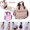 Mochilas multifuncionales nuevo bolso de hombro del pañal del bebé del bolso del panal de la momia mochila conjunto con cambio Pad 2014 bolso bolso de mano