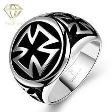 Mens Signet Rings Rock Puck 316L Stainless Steel Cool Ring Fashion Iron Cross Black Oil Painting Jewelry for Man Boys Wholesale