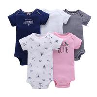 CHUYA Summer Rompers 5Pcs Lot Baby Girl Clothes Sets Short Sleeve Cotton Printed Rompers Baby Jumpsuit