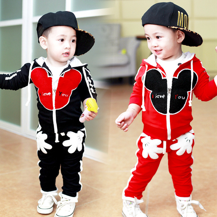2016 New Chidren Kids Boys Clothing Set Autumn Winter 2 Piece Mickey Sets Hooded Coat Suits Fall Cotton Baby Boys Clothes 1-4Y