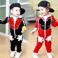 2016 Nova Chidren Crianças Meninos Conjunto de Roupas de Outono Inverno 2 Peça Mickey Define Ternos Casaco Com Capuz Outono Do Bebê Do Algodão Meninos Roupas 1-4Y