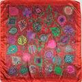90 cm * 90 cm 2016 nuevo diseño de la bufanda de las mujeres bufanda chal de gasa de seda del cabo tippet silenciador Bufandas