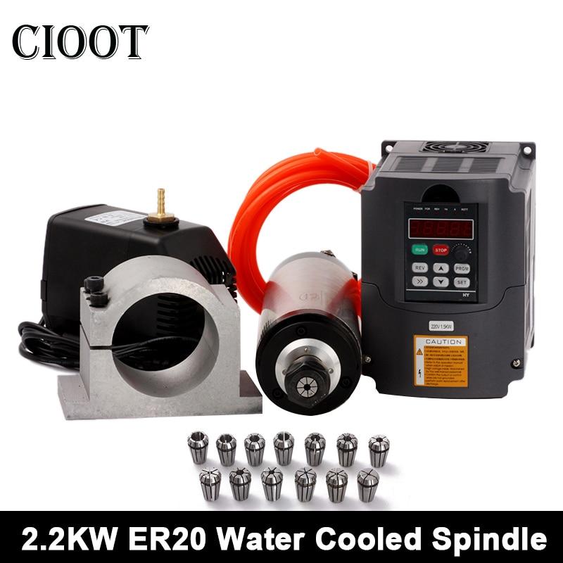 2.2kw Spindle Motor ER20 Water Cooled Spindle Kit + 220v VFD/ Inverter + 80mm Clam +Water Pump/Pipe + 13pcs ER20 for CNC Router 1set water cooled spindle motor 1 5kw with a vfd as a set for cnc