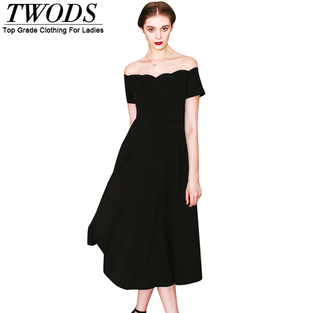Twods Women Black Summer Dress 2016 Off Shoulder Wave Neckline Slim