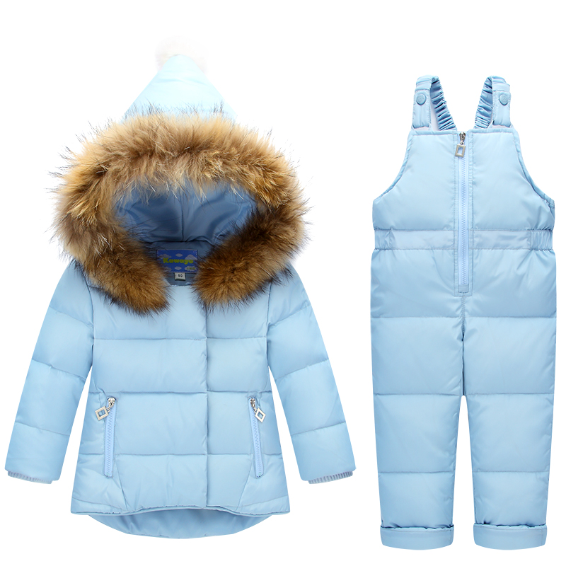Children Clothing Sets Jumpsuit Snow Jackets+bib Pant 2pcs Set 2017 Winter Baby Boy Girls Duck Down Coats Jacket With Fur Hood коньки детские двухполозные novus snow baby boy aksk 17 10