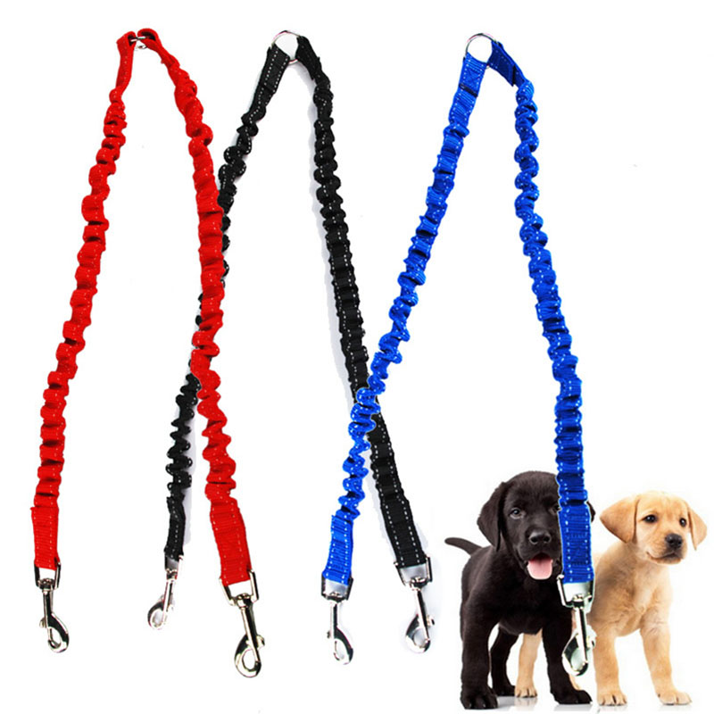 Pets Dog Leash Coupler Double Dog Walker Lead Elastic Tow Dogs Leash Splitter Training Leash Coupler for Small and Medium Dogs