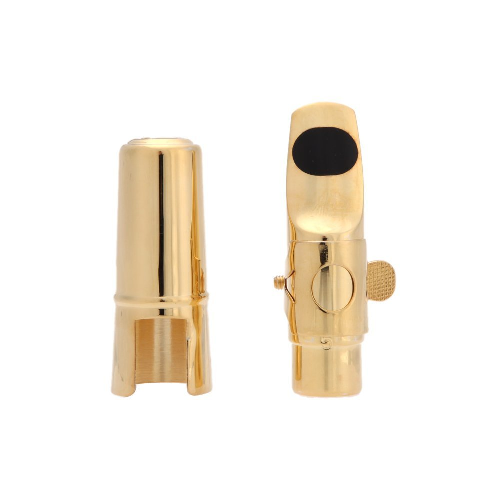 Jazz Soprano Saxophone 5C Metal Mouthpiece Pads Cushions Cap Buckle with Gold Plating