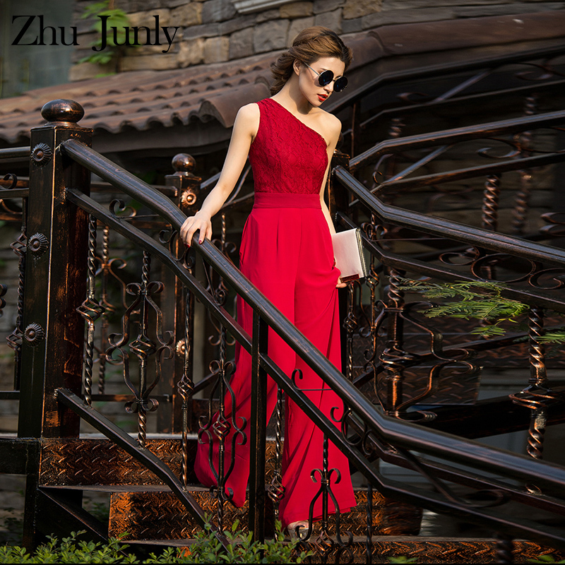 Women Lace Red   Jumpsuit   Party Summer Chiffon Formal Elegant off Shoulder Full Length Rompers Plus Size 3XL 4XL