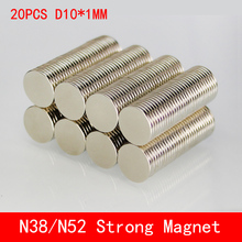 20PCS N38 N52 Neodymium magnet 10x1 Rare Earth small Strong permanent 10*1mm fridge Electromagnet NdFeB nickle magnetic DISC цена