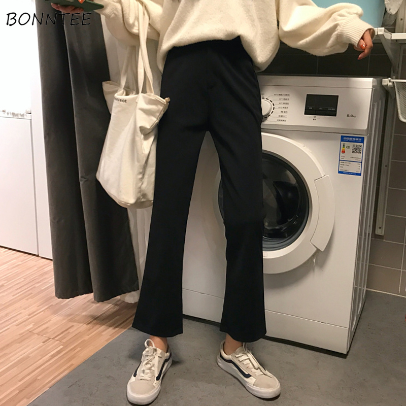 Pants Women Thin Daily Korean Style Trendy Loose Womens Solid High Waist Flare Trousers Lady Leisure Elegant All-match 2019 Chic