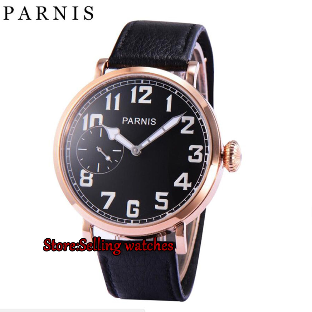 46mm parnis luminous black dial Rose gold case 6497 hand winding leather strap mens watch P2 46mm parnis black dial rose gold 17 jewels 6497 hand winding mens watch p546