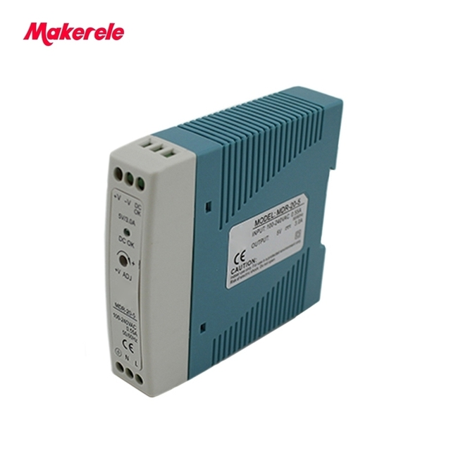 Ac To Dc Single Output Din Rail Mounted Switching Power Supply 20W 5/12/15/24/48V Mdr Series Switched-mode From Maker Electric