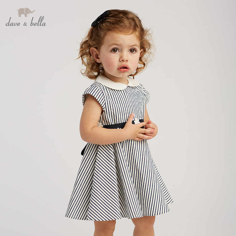 DB10218 dave bella summer baby girl's princess cute bow striped dress children fashion party dress kids infant lolita clothes