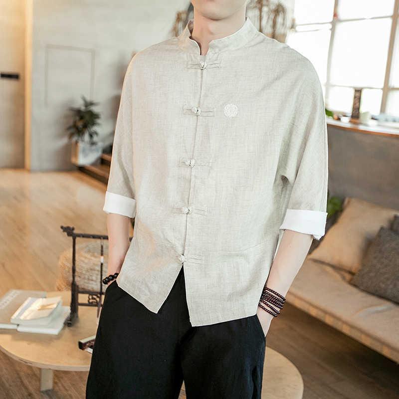 Hombres verano nuevo estilo chino plussize estilo chino tang estilo Camisa de algodón y lino manga corta bandeja botón zen ropa