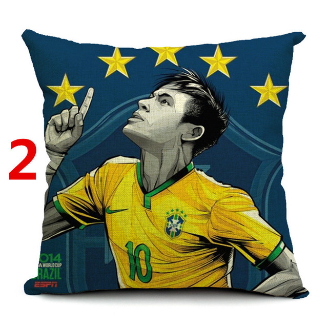 Football star printed cotton linen decorative square  throw pillow cushion cover for sofa home decor capa de almofadas cojines