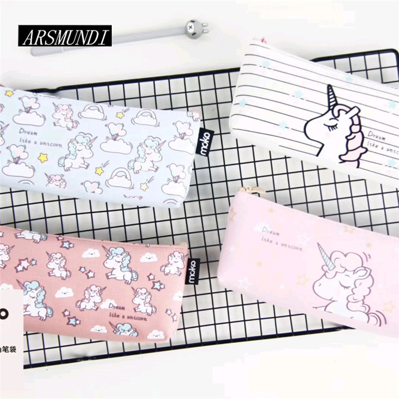 Cute Unicorn Pencil Case Canvas School Supplies Stationery Kawaii Cat Pencil Box Pencilcase Pencil Bag kalem kutusu Pen Case