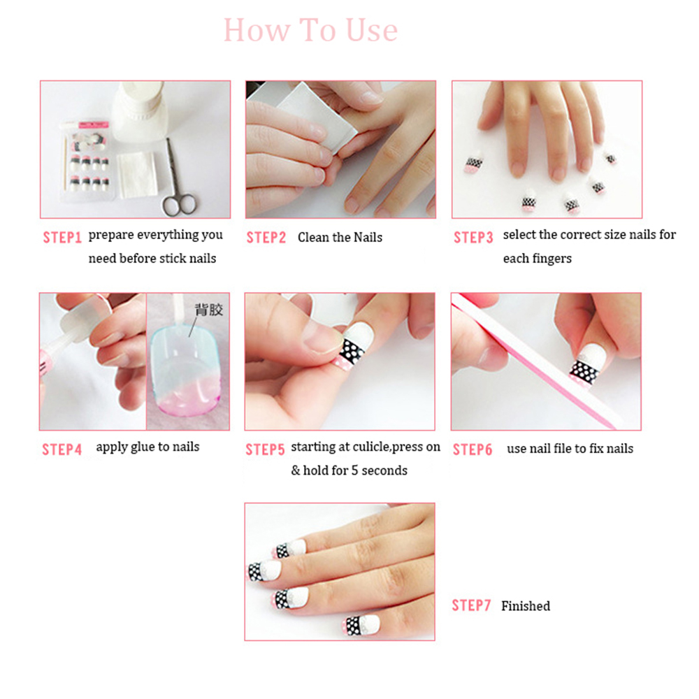 24pcs/Set Pretty Bride Nail Art Tips Silver Red Short Design Full ...