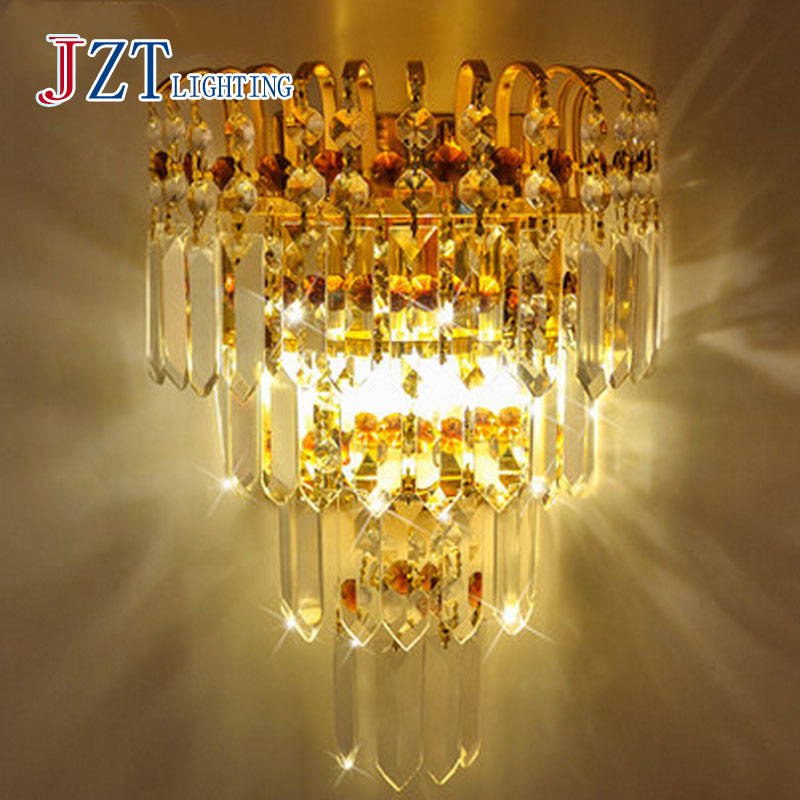 T LED Luxury Crystal wall lamps Golden&Silver European Style Porch Light For Bedside The Corridor Hotel Project3 SIZE z best price european luxury golden round crystal chandeliers light home foyer lamps hotel restaurant clubs bedroom droplights