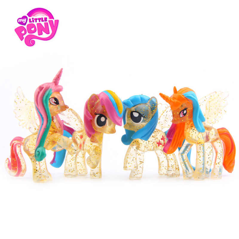 4 pçs/set Meus Brinquedos Little Pony Friendship Is Magic Ação PVC Figures Set Collectible Modelo Bonecas de Natal de Ano Novo presente