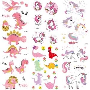 6 листов, водонепроницаемые наклейки для детей с изображением динозавра-единорога, детские наклейки с фальшивой ручной татуировкой, детски...