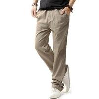 브랜드 새로운 여름 린넨 캐주얼 바지 남성 단색 얇은 통기성 조깅 스웨트 팬츠 아마 큰 크기 M-XXXXL 스트레이트 바지