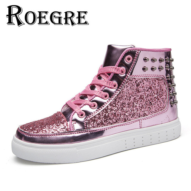 1609e6955d ROEGRE Unisex High Top Shoes Men & Rivets Casual Shoes Punk Rocky Ankle  Boots Spikes Sequined Skate Shoes Golden Sliver -in Men's Casual Shoes from  ...